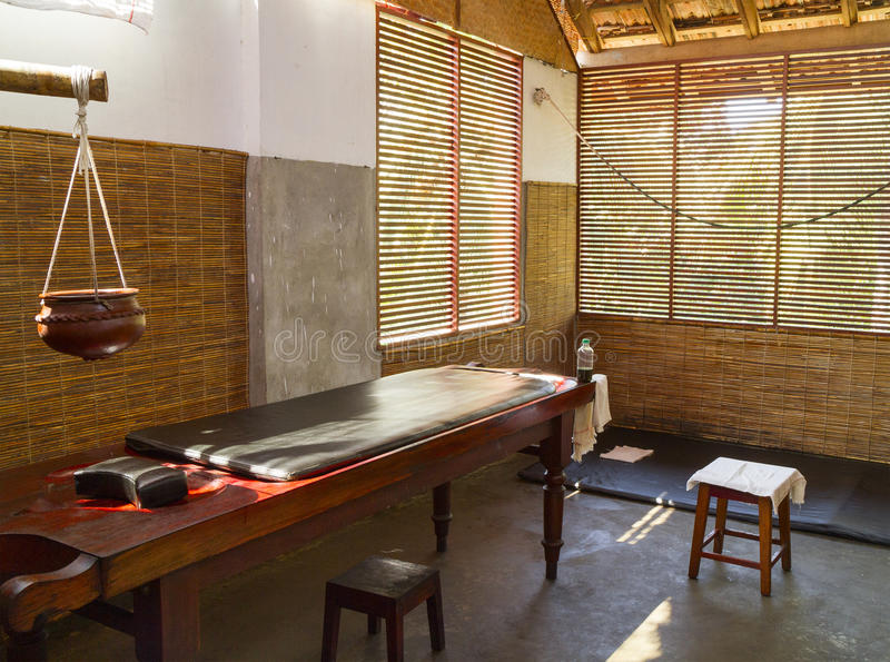 The room for medical treatments in the Ayurvedic clinic. Kerala, India royalty free stock photos