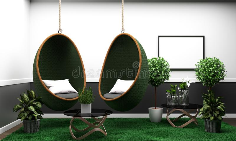 Room modern tropical style with composition - minimal design. 3D rendering royalty free illustration