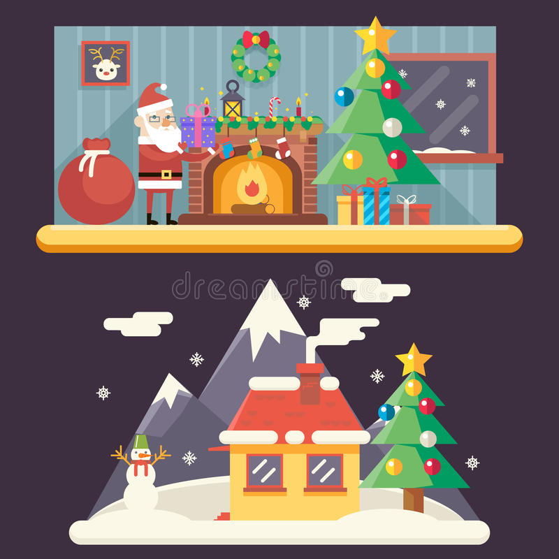 Room New Year House Landscape Santa Claus Accessories vector illustration