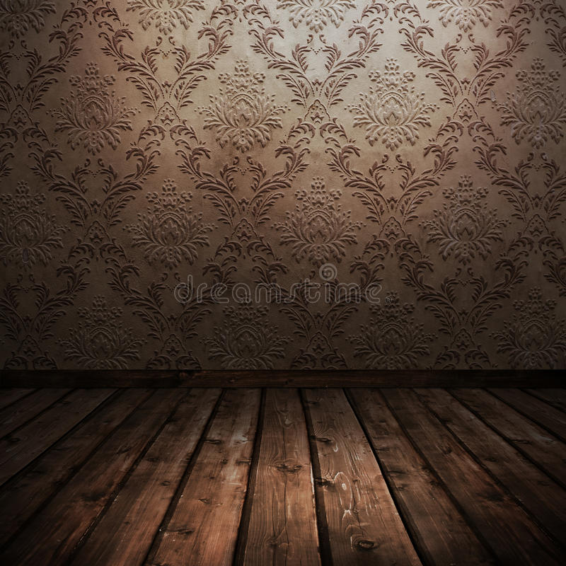 Room with old wallpaper royalty free stock photo