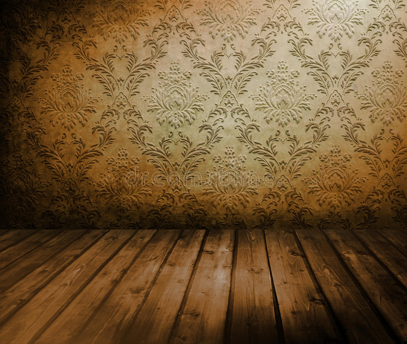 Room with old wallpaper. Room with wooden floors and old wallpaper stock images