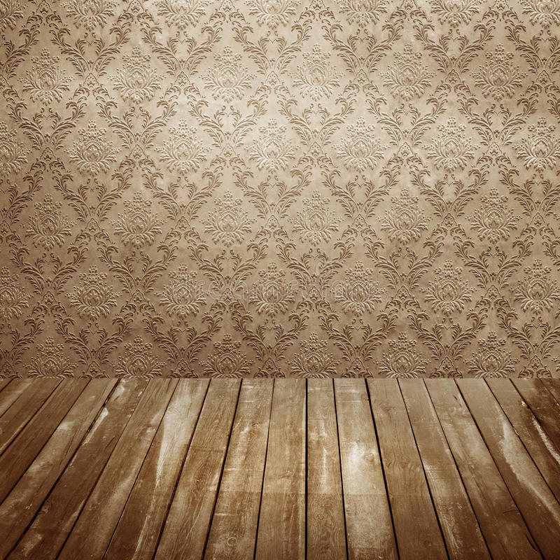 Room with old wallpaper vector illustration