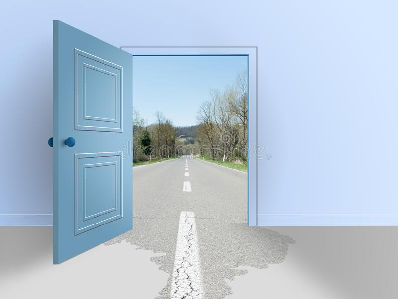 Room with open door.The road outside and inside the house. Room with open door. The road outside and inside the house vector illustration