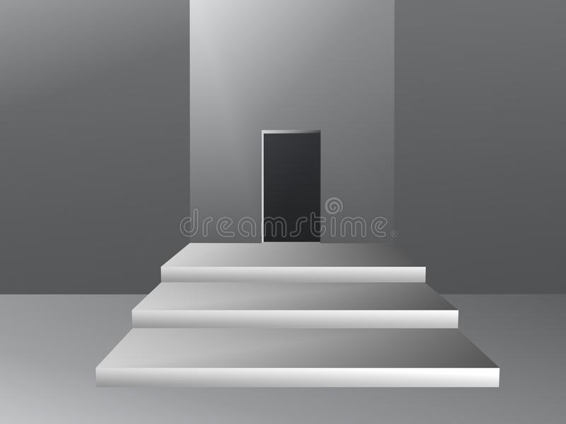 Room with opening in wall illustration stock illustration