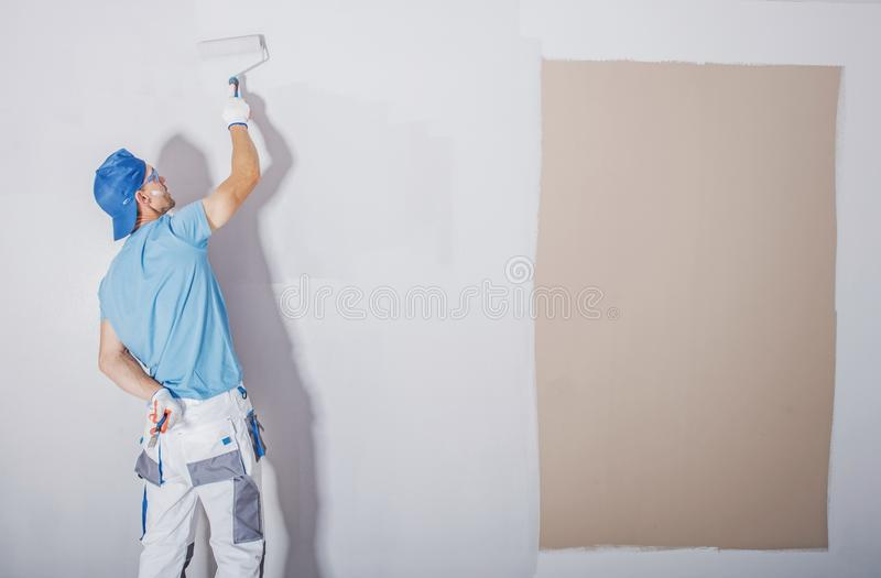 Room Painter at Work stock images