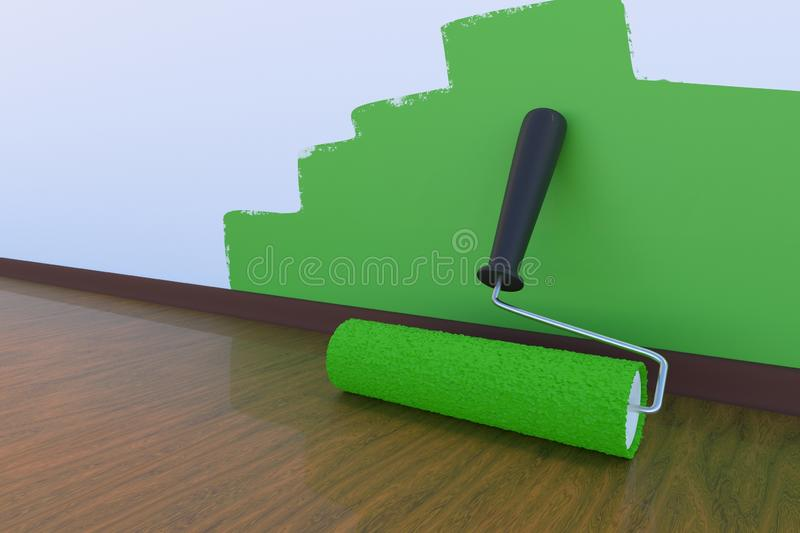 Room painting concept. Paint roller with green color. 3D rendered illustration. Room painting concept. Paint roller with green color. 3D rendered illustration vector illustration