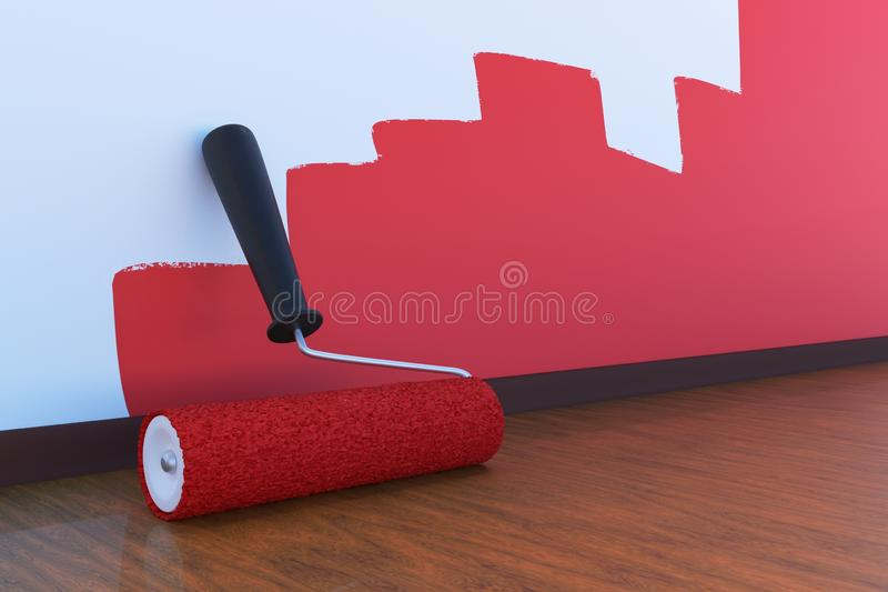 Room painting concept. Paint roller with red color indoors. 3D rendered illustration. Room painting concept. Paint roller with red color indoors. 3D rendered royalty free illustration