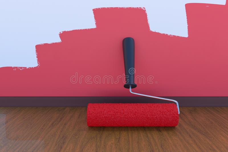 Room painting concept. Paint roller with red color indoors. 3D rendered illustration. Room painting concept. Paint roller with red color indoors. 3D rendered stock illustration