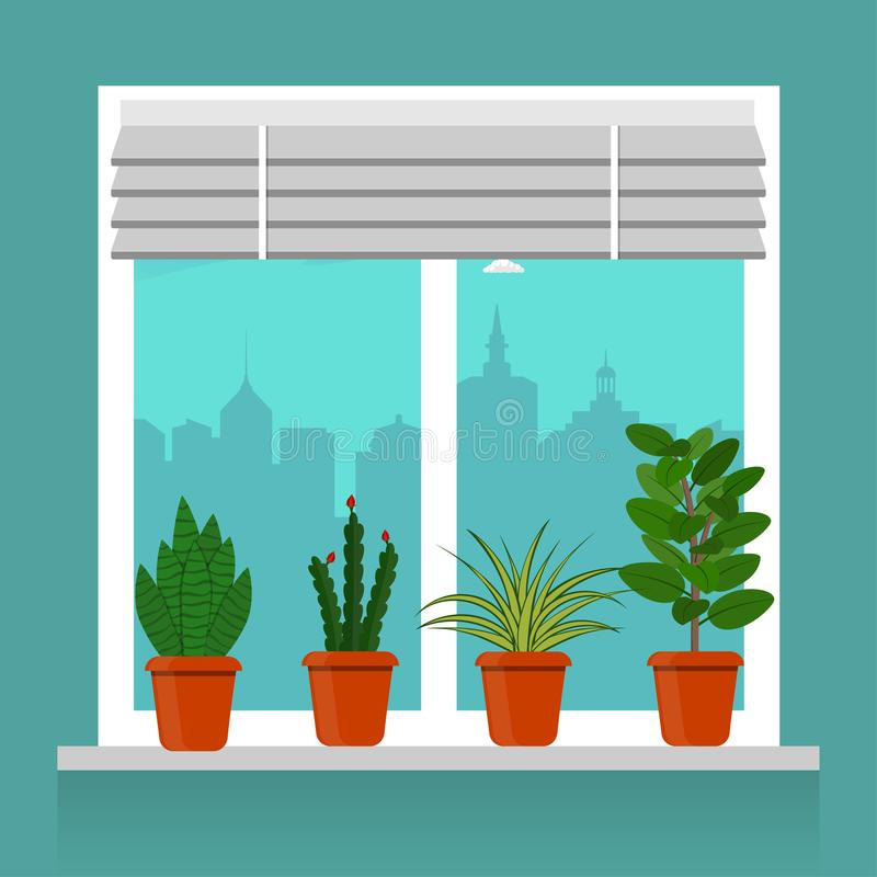 Window With Blinds Vector Illustration Stock Vector