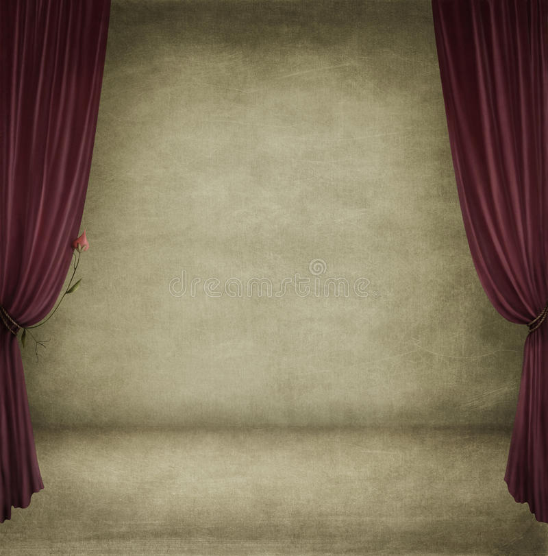 A room with red curtains vector illustration