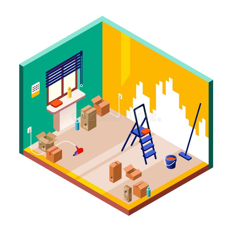 Room renovation vector illustration isometric cross section. Vector illustration of isometric cross section of modern small room interior with home repair tools royalty free illustration