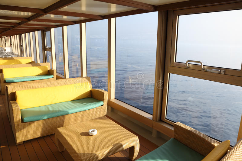 Room for rest with tables in cruise liner royalty free stock photo
