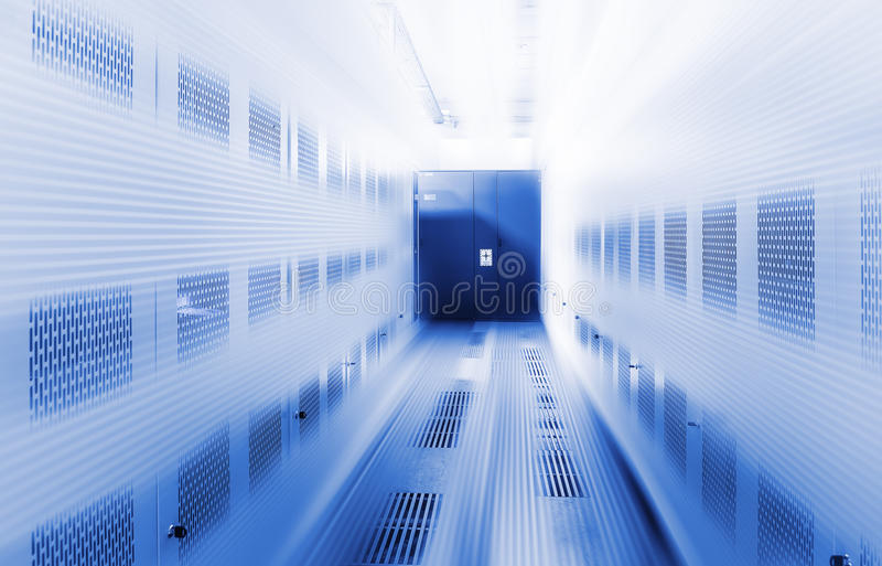 Room with rows of server hardware in the data center. Room with rows of server hardware in data center stock photography