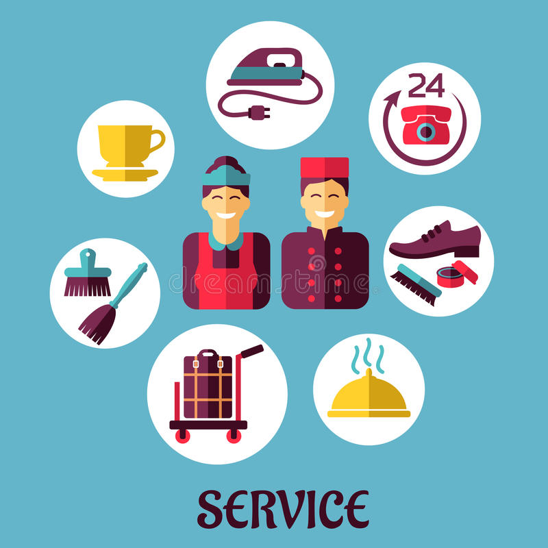 Download Room Service Flat Design Concept Stock Vector Illustration Of Bell Banner