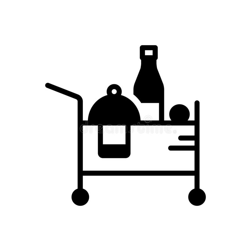 Black solid icon for Room Service, room and service. Black solid icon for Room Service, beverage, accommodation, breakfast, restaurant,  room and service royalty free illustration