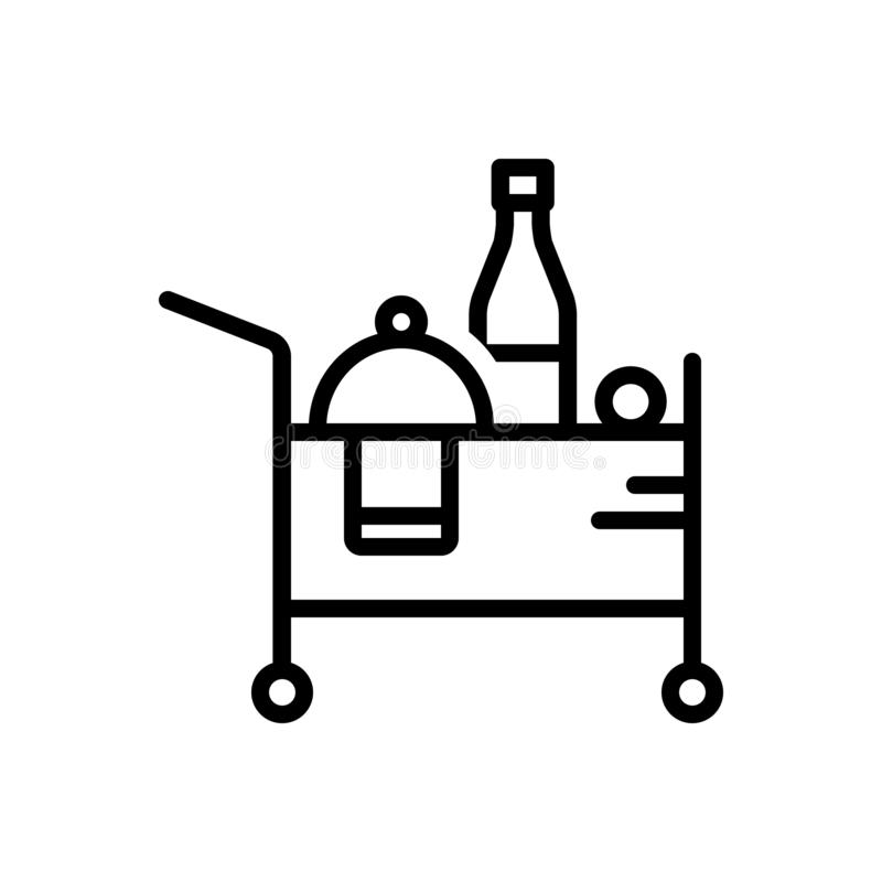 Black line icon for Room Service, beverage and accommodation. Black line icon for Room Service, breakfast, catering, restaurant,  beverage and accommodation stock illustration