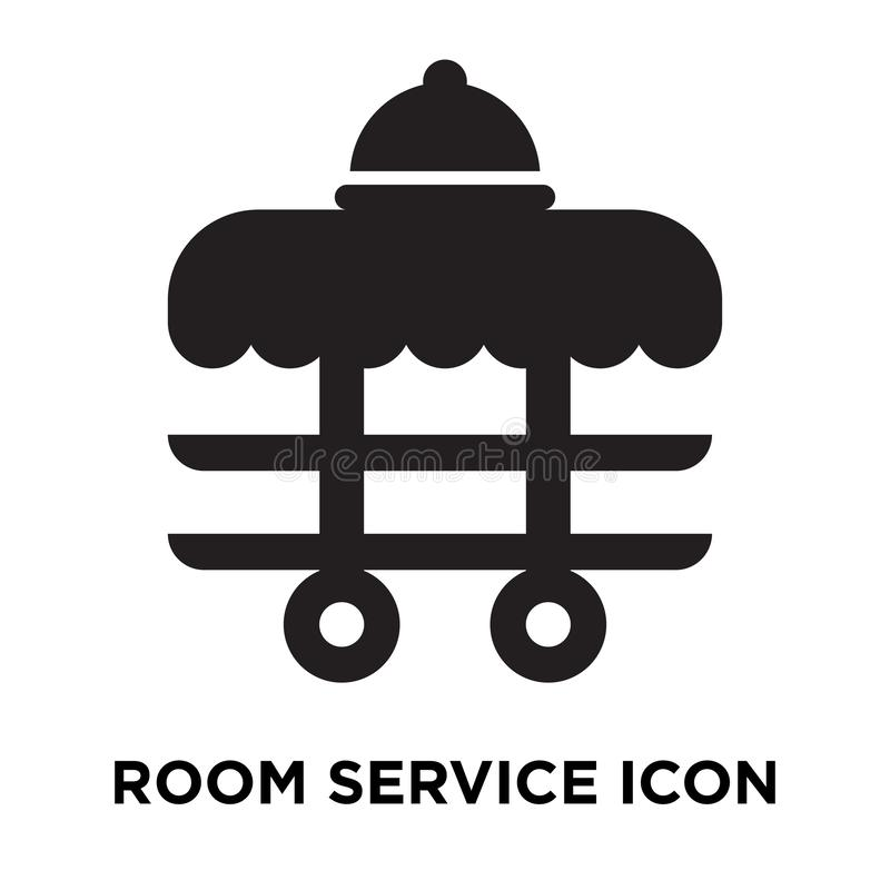 Room service icon vector isolated on white background, logo concept of Room service sign on transparent background, black filled. Room service icon vector stock illustration