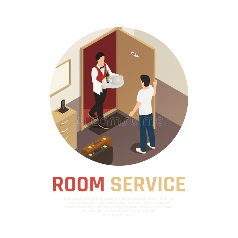 Hotel Service Isometric Composition vector illustration