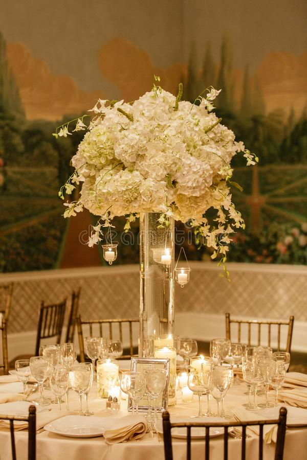Wedding centerpiece table set for reception stock images
