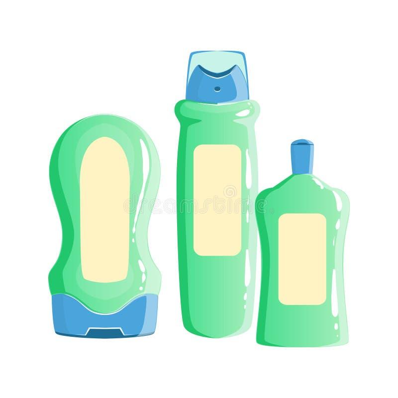 Room, Shampoo en Geurbestrijdende Containers, Schoonheid en Skincare-Vastgesteld het Malplaatjeontwerp van de Productlijn royalty-vrije illustratie