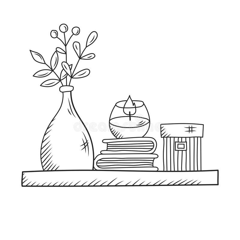 Room Shelf With Books Candle And Vase Line Drawn Vector Stock Vector