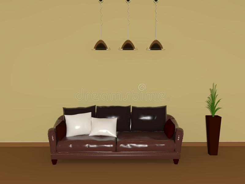 Download A room with a sofa stock illustration. Illustration of decoration - 23360048