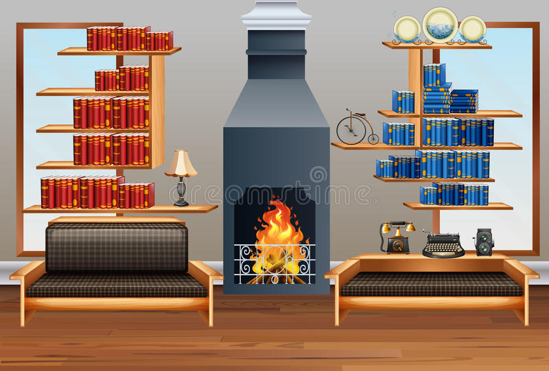 Room with sofa and fireplace. Illustration stock illustration
