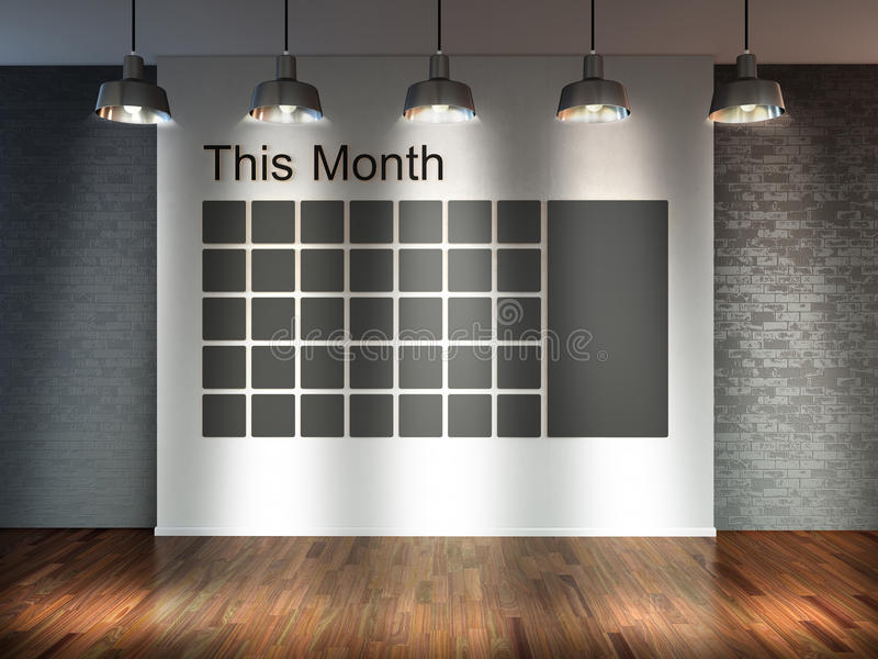 Room with spotlight lamps, empty 3d space with wooden floor and brick wall as background with wall calendar. Schedule memo manag vector illustration