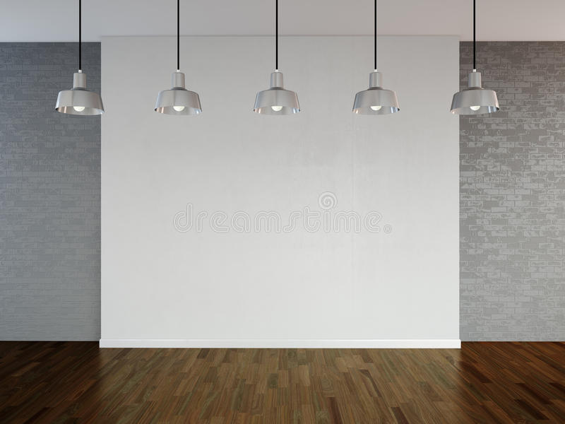 Room with spotlight lamps, empty space with wooden flooring and brick wall as background or backdrop for product placement. 3d r royalty free illustration