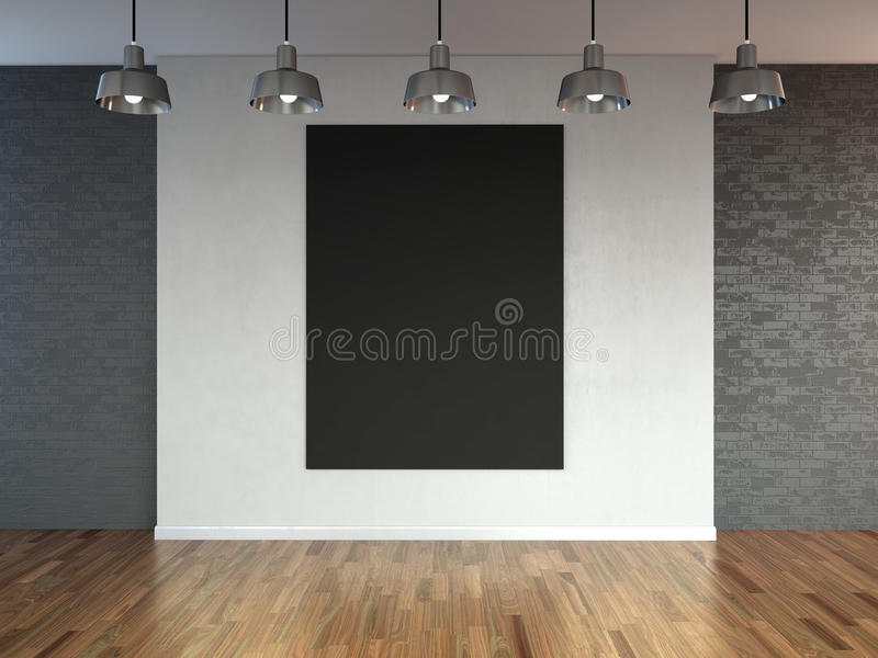 Room with spotlight lamps, empty space with wooden flooring and brick wall as background or backdrop for product placement. 3d r vector illustration