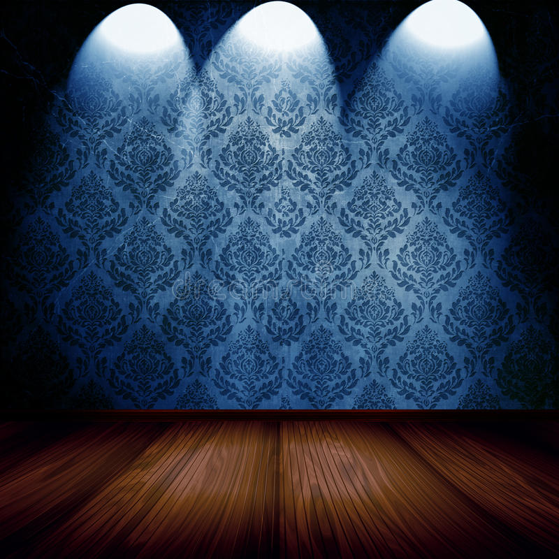 Room With Spotlights. Interior design of empty room and stage wooden floor with bright spotlights on beautiful blue damask wallpaper vector illustration
