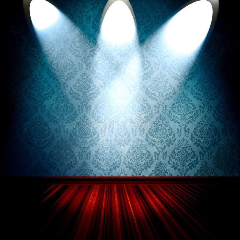 Room With Spotlights. Empty room interior and stage with bright spotlights on blue damask wallpaper and wood floor stock illustration