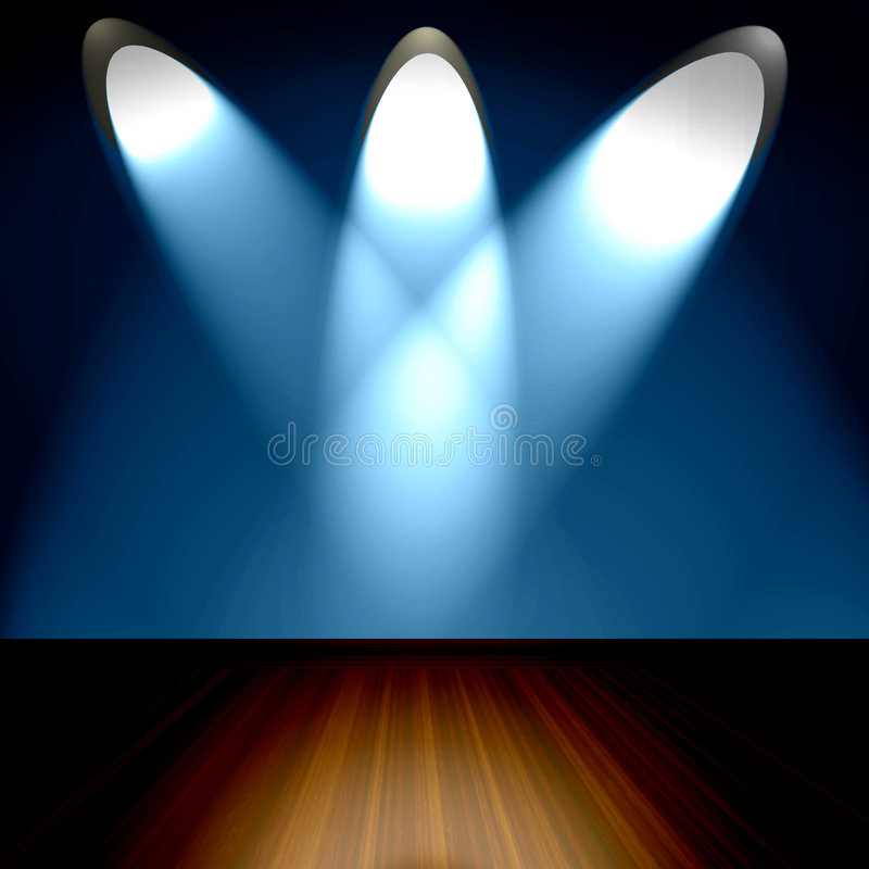 Room With Spotlights. Empty room interior with wood stage floor with three bright spotlights on blue wall royalty free illustration