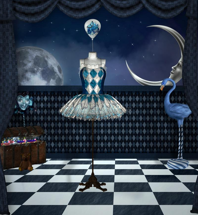 Surreal hall with a dummy in the middle stock illustration
