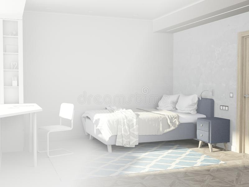 Room for a teenager in the Scandinavian style. The transition from the white to the colored of the project implementation. stock photo