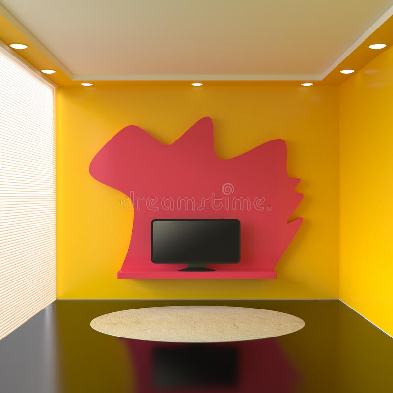 Room with television and white blinds. 3d illustration royalty free illustration
