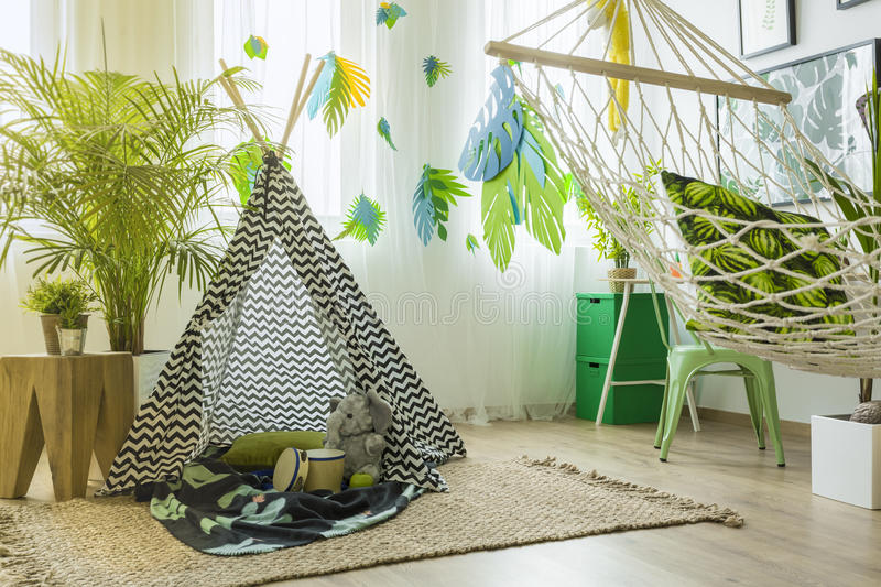 Room with tent and hammock stock images
