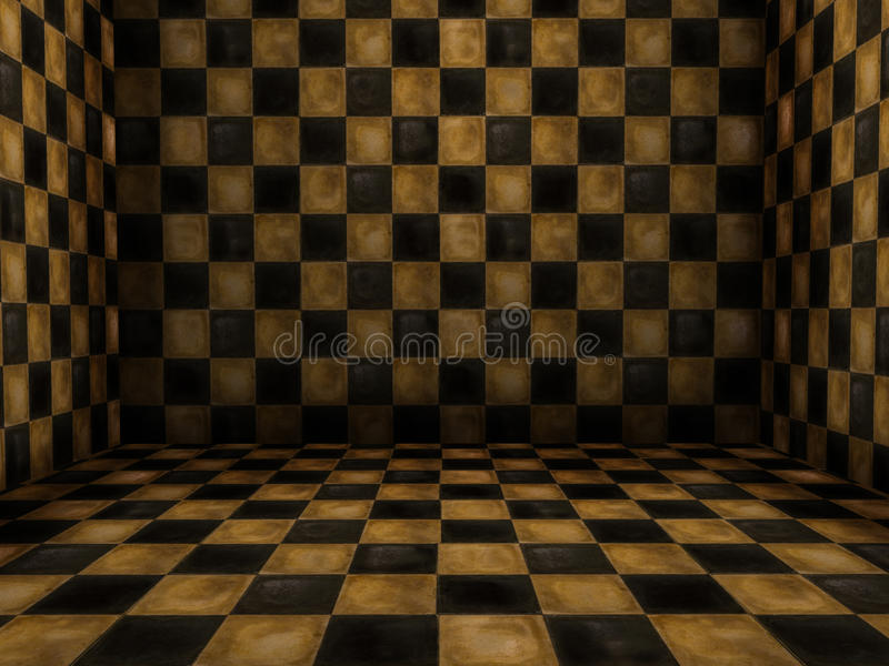 Room with tiles. 3D setting of a room with vintage tiles royalty free illustration