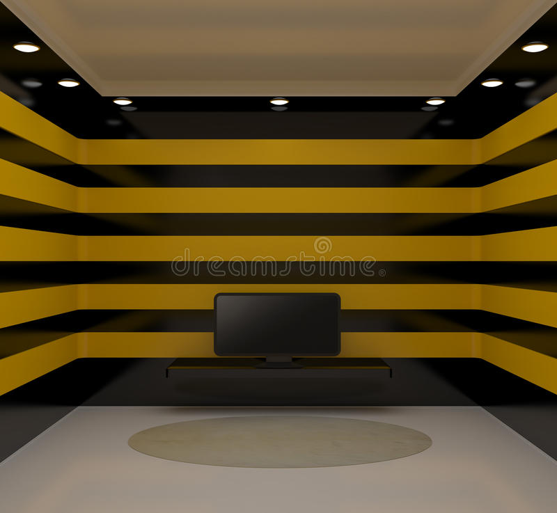 Room With Tv And Black And Yellow Walls Stock Illustration ...