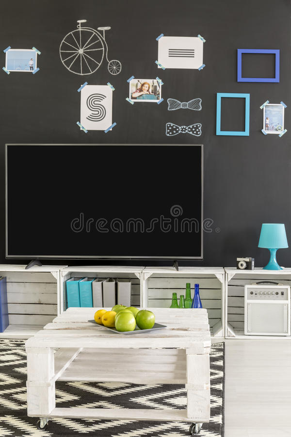 Room with tv and blackboard royalty free stock photos