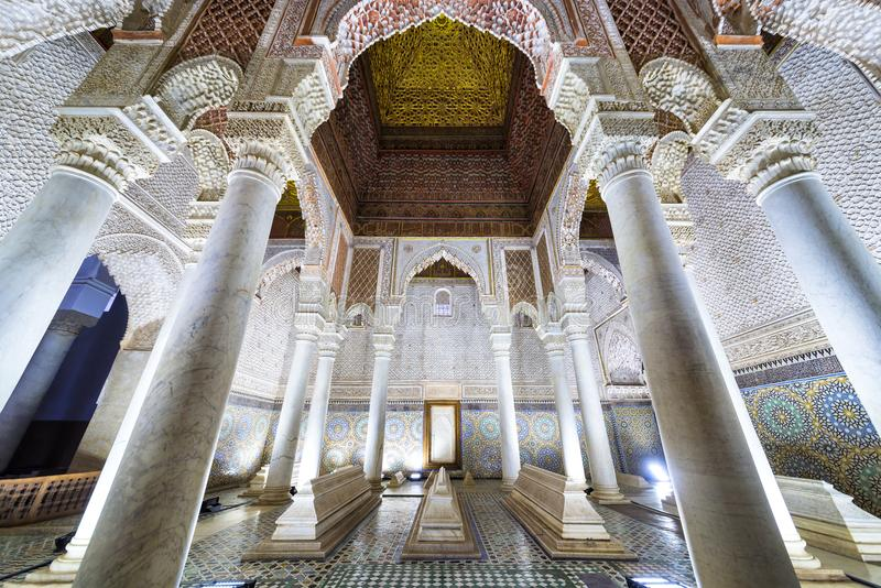 The room with the twelve columns in Saadian Tombs, Marrakech royalty free stock photos