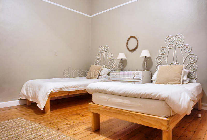 Room with two beds. Shot in South Africa royalty free stock image