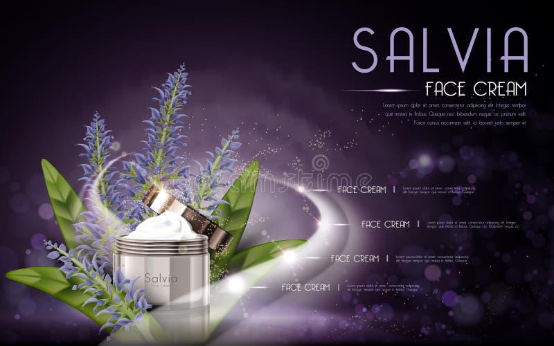 Room van het Salvia de kosmetische gezicht stock illustratie