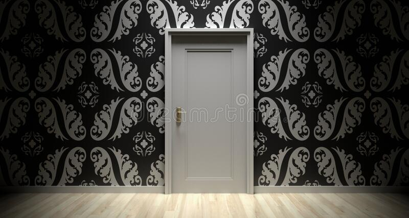 Room with wallpaper stock photos