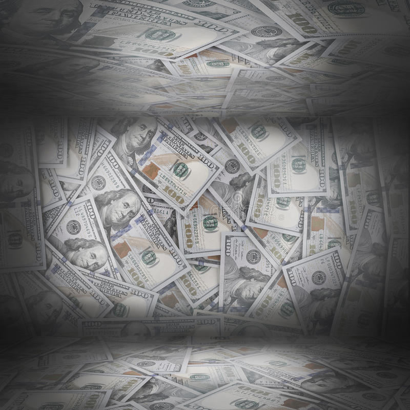 Room with walls of dollars, business concept stock images