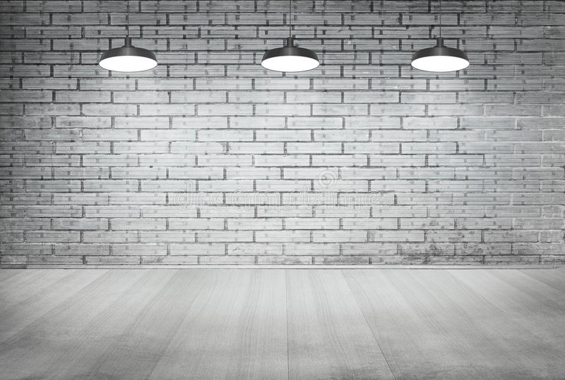 Room white brick grunge wall and wood floor with ceiling lamp stock photo