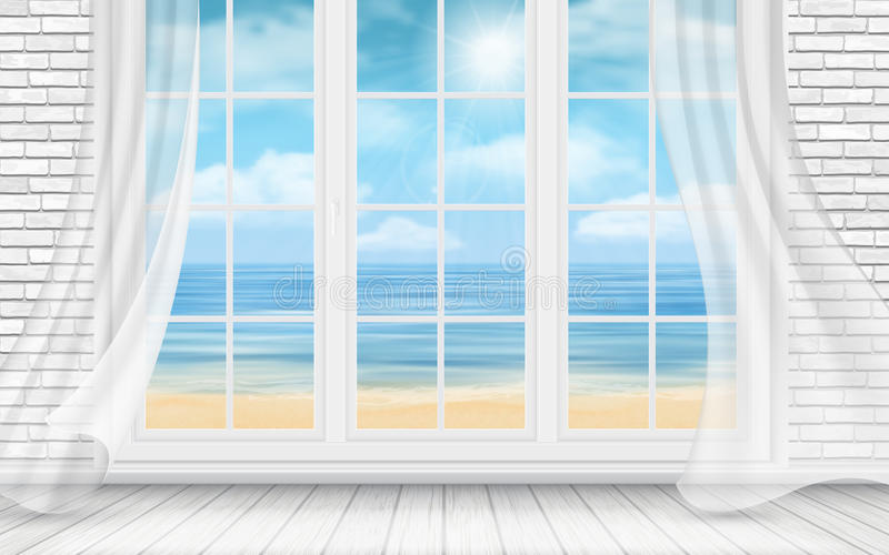 Room with white brick wall and window stock illustration