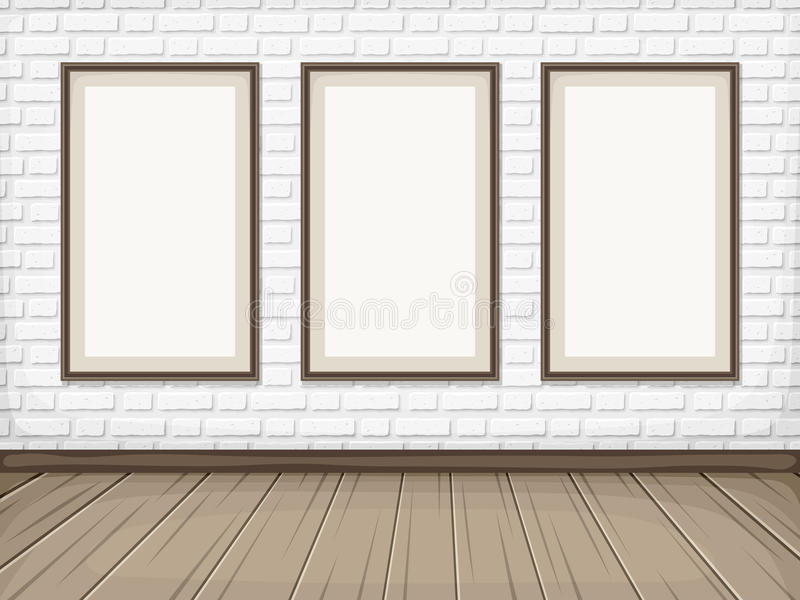 Room with White brick wall, wooden floor and blank frames. Vector eps-10. Vector show room with white brick wall, wooden floor and blank picture frames vector illustration