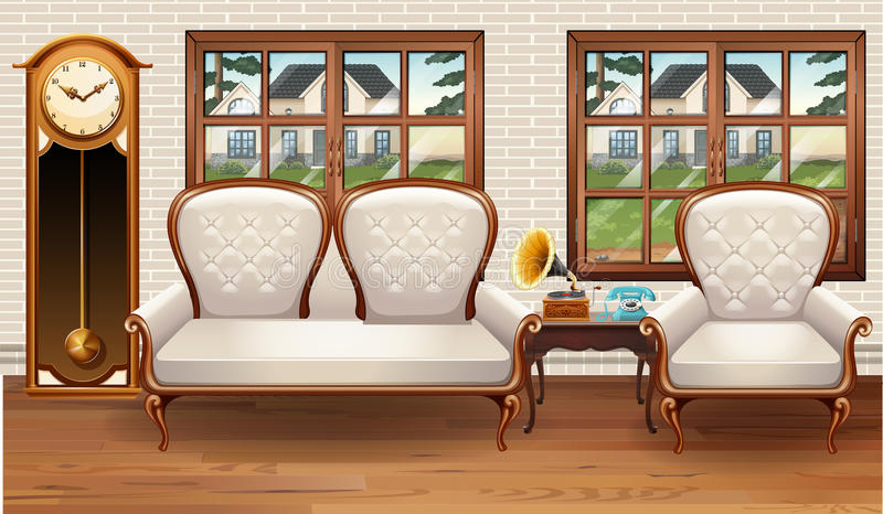 Room with white sofa and vintage clock. Illustration royalty free illustration