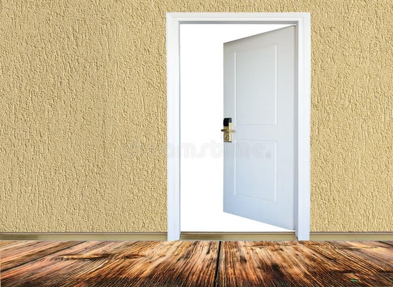 Room with wooden floors, open door royalty free stock photo